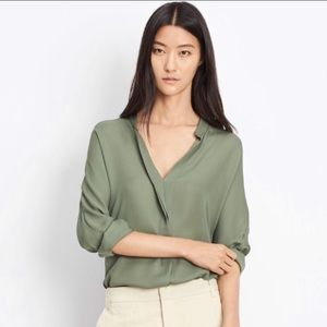 Vince Silk Green Double Pleat Blouse